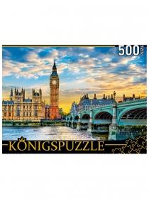 Konigspuzzle. ПАЗЛЫ 500 элементов. ШТK500-3575 БИГ-БЕН И ВИСТМИСТЕРСКИЙ МОСТ НА ЗАКАТЕ
