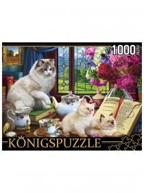Konigspuzzle. ПАЗЛЫ 1000 элементов. ХK1000-3590 КОТЫ И ЧАЙНЫЙ СЕРВИЗ