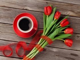 Холст с красками по номерам 22х30 см. Кофе и тюльпаны (Арт. HS254)