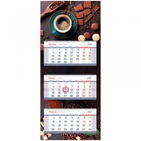"Календарь квартальный 3 бл. на 3 гр. OfficeSpace Mini premium ""Chocolate Arabica"", с бегунком, 2021г"