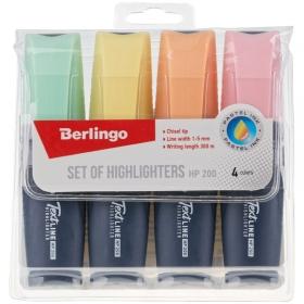 """Набор текстовыделителей Berlingo """"Textline HP200"""", 4цв., пастельные цвета, 1-5мм, европодвес T5020"""