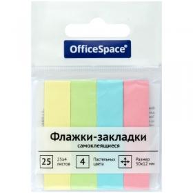 Флажки-закладки OfficeSpace, 50*12мм, 25л*4 пастельных цвета, бумажные  SN25_21801