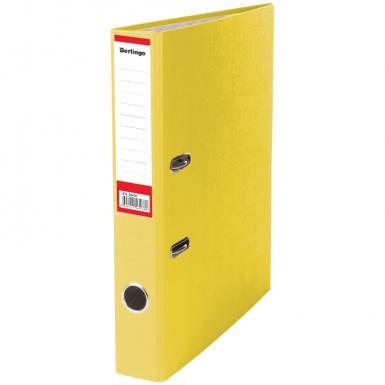 """Папка регистратор А4, ПВХ, 50 мм. желтая Berlingo """"Standard"""", бумвинил, с карманом, ATb_50405"""