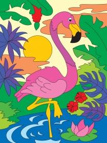 Холст с красками 18х24 см по номерам. Фламинго на закате (Арт. Х-2557)