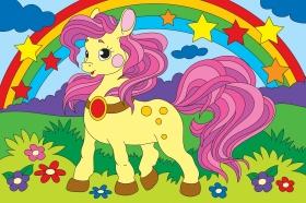 Холст с красками 20х30 см по номерам. Пони и радуга (Арт. Х-2564)