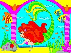 Холст с красками 18х24 см. Красивая русалка (Арт. Х-9390)