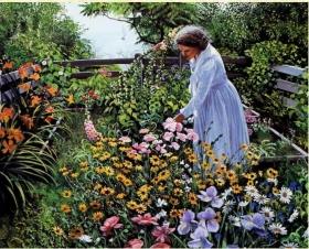 Н-р для вышивания бисером 27x35 см (частичн.заполн.,канва с рис) Цветущий сад. Арт.569