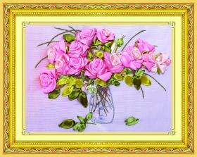 Набор для вышивания лентами 28х43  см. Нежные розы Арт. C-0290