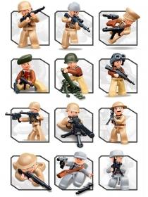 Конструктор пластиковый.SLUBAN.WWII.Фигурки героев: Армия (5 фигурок) Арт. M38-B0580 кратно 60