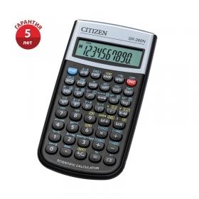 Калькулятор научный Citizen SR-260N, 10+2 разрядов, 165 функций, питание от батарейки, 80*154*14мм,