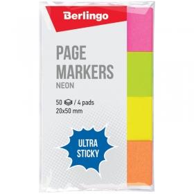 """Флажки-закладки Berlingo """"Ultra Sticky"""", 20*50мм, 50л*4 неоновых цвета LSz_41002"""