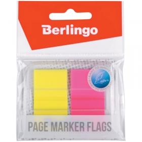 Флажки-закладки Berlingo 45*25мм, 20л*2 неоновых цвета, в диспенсере, европодвес LSz_45251