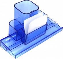 Подставка для канцелярских принадлежностей TURRET прозрачно-синий 220х120х120 мм, полистирол M-1895