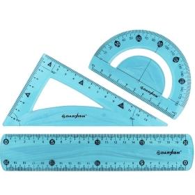 "Набор геометр. ""Darvish"" 3 предмета мягкий пластик (линейка20см+транспортир+треугольник) DV-7255"
