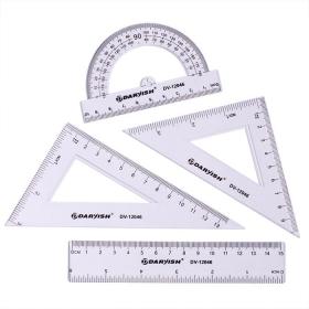 """Набор геометр. """"Darvish"""" 4 предмета (линейка 15 см+ транспортир+ 2 треугольника) DV-12046"""