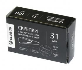 """Скрепки канцелярские  """"Quality"""" L31 мм, 100 шт. с загнутым краем, никелированные С31-100 НЧ"""