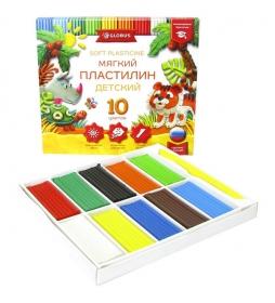 Пластилин детский классический повышенной мягкости 10 цветов ПЛ10Д