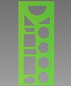 Трафарет геометрических фигур зелёный ТТ11