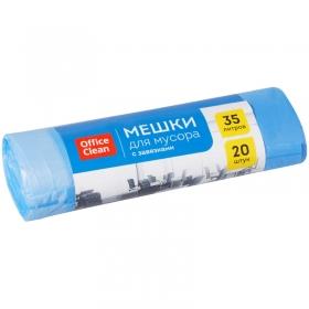 Мешки для мусора 35л OfficeClean ПНД, 48*52 см, 10мкм, 20шт., синие, в рулоне, с завязками 297832