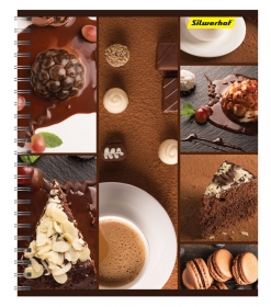 Тетрадь Silwerhof 810022-75 80л. клет. A5 Шоколад 3диз. мел.карт. двойн.уф.лак гребень