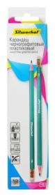 Карандаш чернографит. Silwerhof Favorit 120635-00 HB шестигран. пластик грифель 2.2мм ластик белый к