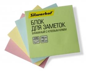 Блок самоклеящийся бумажный Silwerhof 682156-06 76x76мм 100лист. 75г/м2 пастель зеленый