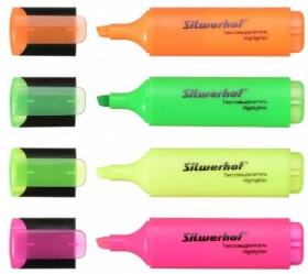Набор текстовыделителей Silwerhof Blaze 108036-00 скошенный пиш. наконечник 1-5мм 4цв. пакет с европ