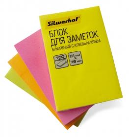 Блок самоклеящийся бумажный Silwerhof 682160-05 51x76мм 100лист. 75г/м2 неон желтый