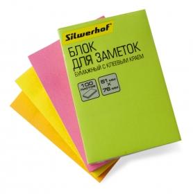 Блок самоклеящийся бумажный Silwerhof 682160-06 51x76мм 100лист. 75г/м2 неон зеленый