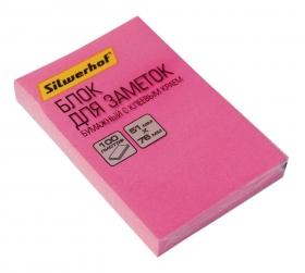Блок самоклеящийся бумажный Silwerhof 682160-03 51x76мм 100лист. 75г/м2 неон розовый