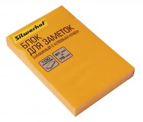 Блок самоклеящийся бумажный Silwerhof 682160-07 51x76мм 100лист. 75г/м2 неон оранжевый