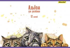 Альбом для рисования Silwerhof 485724 20л. A4 Котята 2диз. картон скрепка
