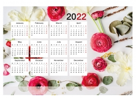 Календарь настенный листовой БУТОНЫ И ЛИСТЫ (КН-0469) А2, мел.бум КН-0469