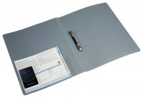 Папка на 2-х кольцах Бюрократ -0827/2RGREY A4 пластик 0.7мм кор.27мм внутр. с вставкой серый