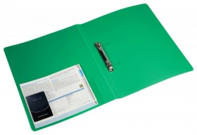Папка на 2-х кольцах Бюрократ -0827/2RGRN A4 пластик 0.7мм кор.27мм внутр. с вставкой зеленый