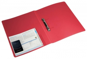 Папка на 2-х кольцах Бюрократ -0827/2RRED A4 пластик 0.7мм кор.27мм внутр. с вставкой красный