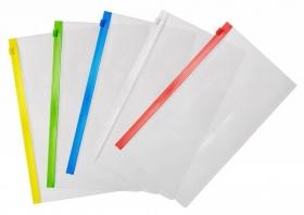 Папка на молнии ZIP Бюрократ -BPM6AGRN полипропилен 0.15мм карм.для визит. цвет молнии зеленый