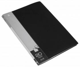 Папка с 20 прозр.вклад. Бюрократ -BPV20BLACK A4 пластик 0.6мм торц.карм с бум. встав черный