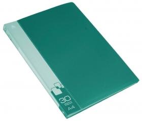 Папка с 30 прозр.вклад. Бюрократ -BPV30GRN A4 пластик 0.65мм торц.карм с бум. встав зеленый