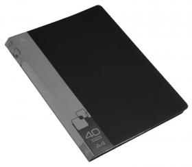 Папка с 40 прозр.вклад. Бюрократ -BPV40BLCK A4 пластик 0.65мм торц.карм с бум. встав черный