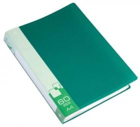 Папка с 60 прозр.вклад. Бюрократ -BPV60GRN A4 пластик 0.7мм торц.карм с бум. встав зеленый