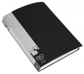 Папка с 80 прозр.вклад. Бюрократ -BPV80BLCK A4 пластик 0.8мм торц.карм с бум. встав черный