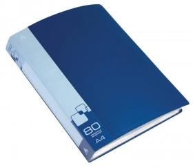 Папка с 80 прозр.вклад. Бюрократ -BPV80BLUE A4 пластик 0.8мм торц.карм с бум. встав синий
