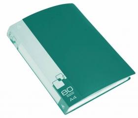 Папка с 80 прозр.вклад. Бюрократ -BPV80GRN A4 пластик 0.8мм торц.карм с бум. встав зеленый