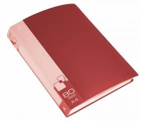Папка с 80 прозр.вклад. Бюрократ -BPV80RED A4 пластик 0.8мм торц.карм с бум. встав красный