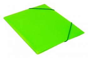 Папка на резинке Бюрократ Double Neon DNE510LETT A4 пластик кор.30мм 0.5мм салатовый