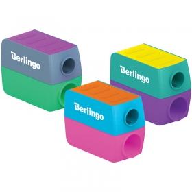 """Точилка пластиковая Berlingo """"ColorShift"""",  2 отверстия, контейнер, ассорти, туба BBp_15031"""
