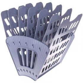 Лоток для бумаг веерный Стамм, 7-ми секционный, серый ЛТ40